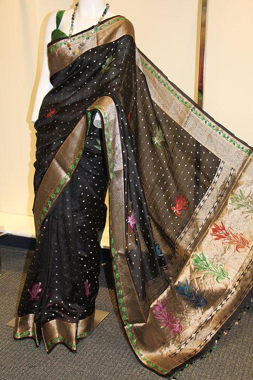 Black Meenakari Chiniya Silk Banarasi Saree