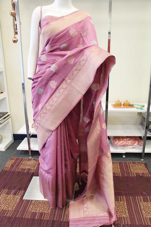 Light mauve color semi silk Banarasi Saree