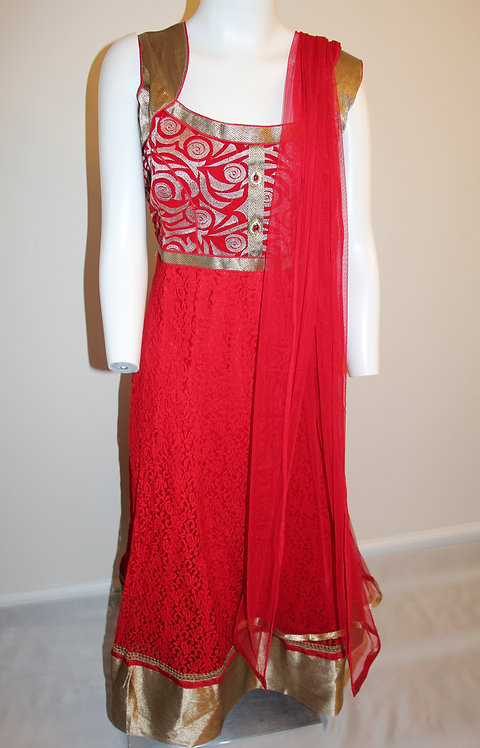 Red Anarkali Ankle Length Suit