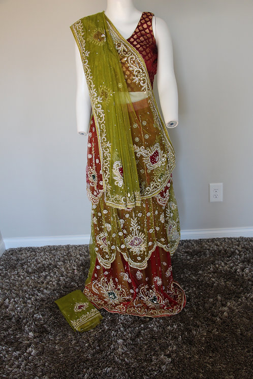 Net Lehenga saree with Heavy Embroidery