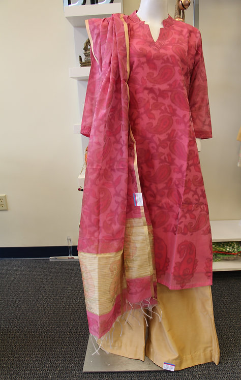 3 pcs cotton printed palazzo suit