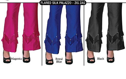 Zig Zag Silk Flared Plazzo with Tassle