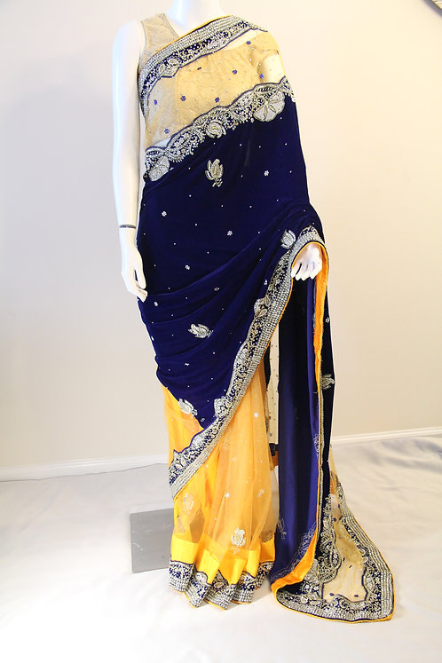 Soft Velvet and Net Half & Half Party Wear Saree