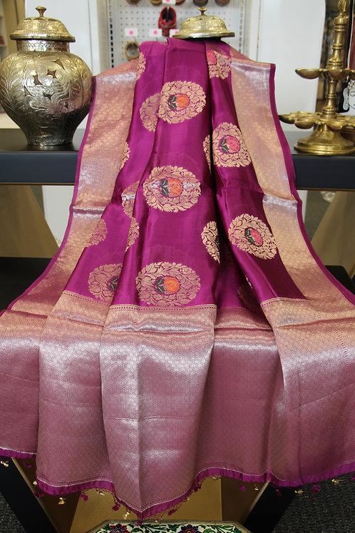 Purple Meenakari Dupion Silk Banarasi Saree