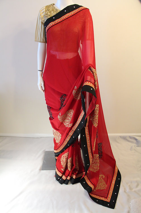 Black and Red Georgette Fancy Saree