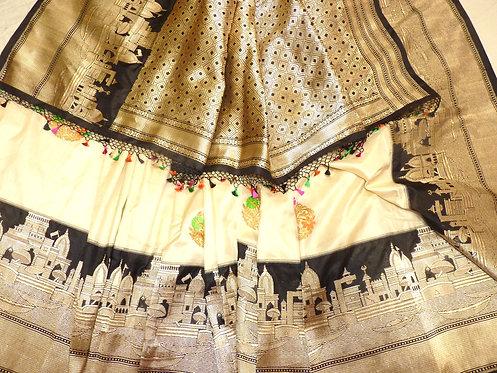 Cream and Black Pure Katan Silk in glorious carving of Benaras Ganga Ghats
