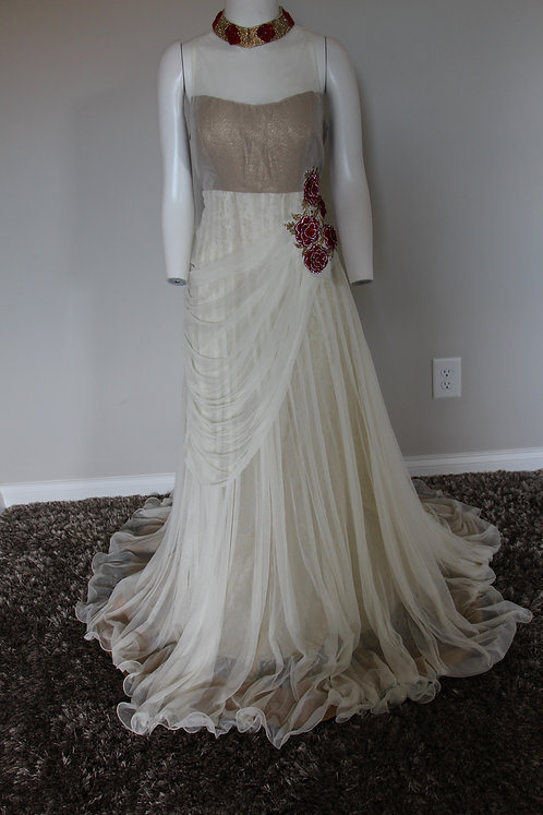 Offwhite Evening Gown with flowers