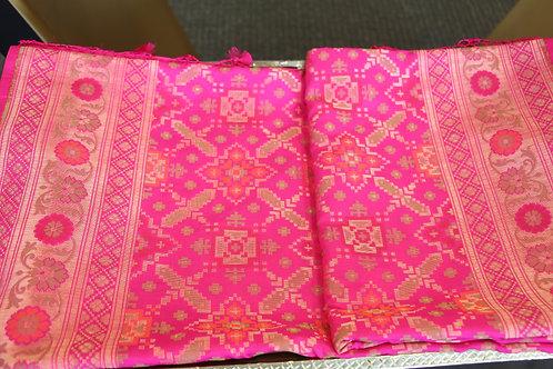 Banarasi Pure Katan Silk Hand-loom Saree with Patola pattern