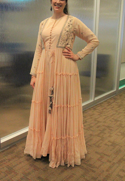 Pearl color 3 pcs embroidered gown style dress.