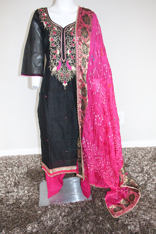 Chanderi Silk Salwar Suit enhanced with Embroidery