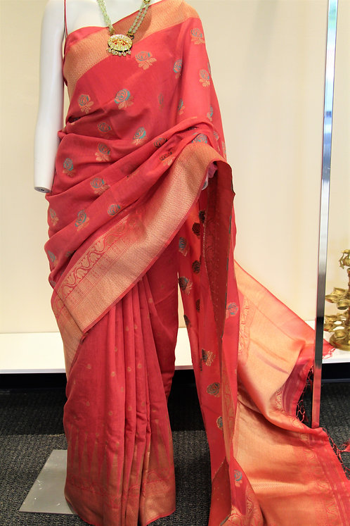 Strawberry color semi silk Banarasi Saree
