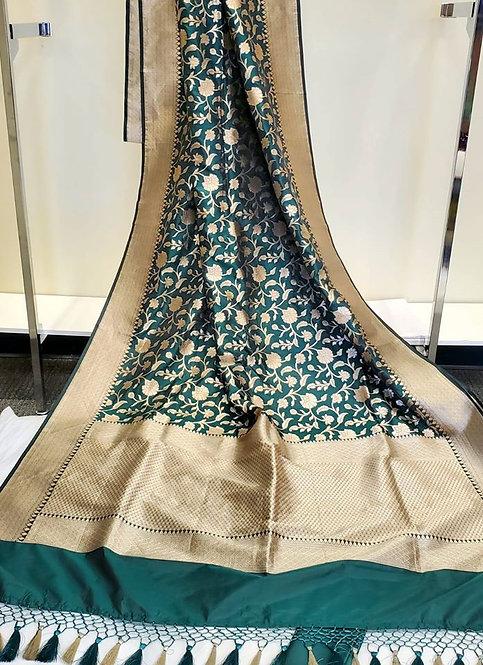 Dark Green Gold Zari Pure Katan Silk Hand-loom  Banarasi Saree