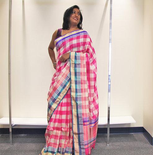 Checkered Pure Katan Silk Handloom Banarasi Saree
