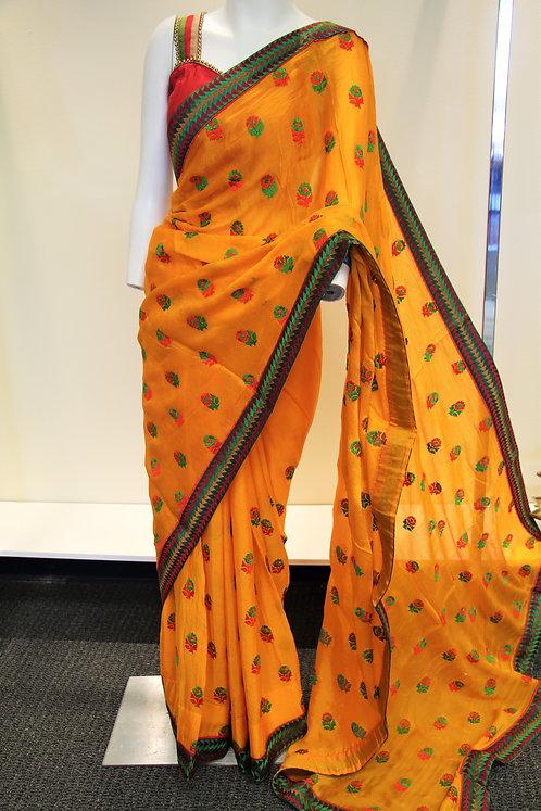 Yellow Chiffon Resham Embroidered Saree