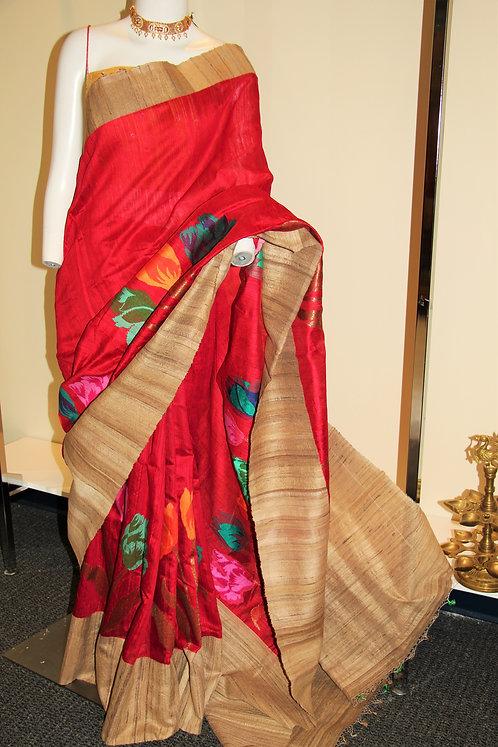 Red Ghicha Tusser Handloom Banarasi Pure Silk Saree