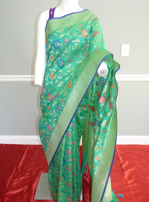 Sea Green Banarasi Semi Katan Silk