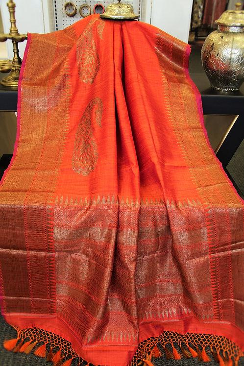 Splendid  Pure Dupion Silk Handloom Banarasi Saree