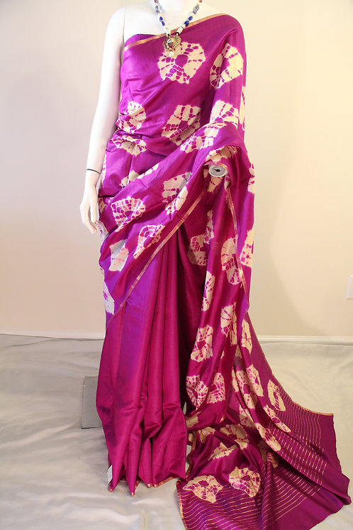 Tie and Dye Purple Chiniya Silk Saree