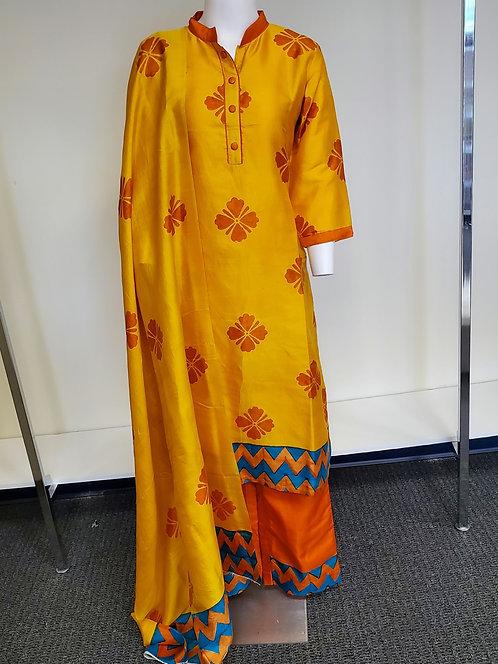 Bishnupuri Katan Silk Handpainted Suit