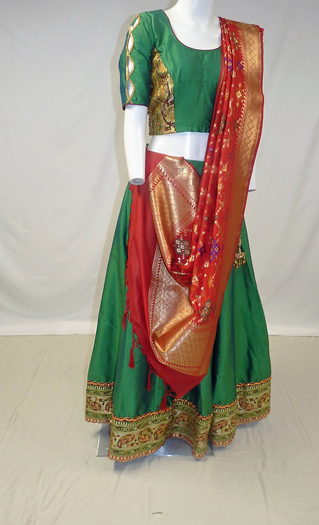 Green and Red Chaniya Choli with Banarasi Silk Dupatta
