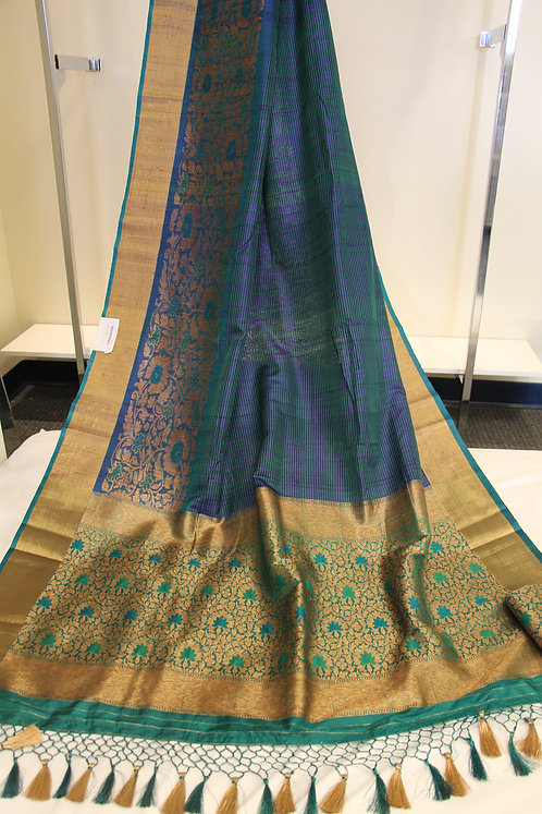 Banarasi Pure Tusser Silk saree in Blue and Rama Green Shade