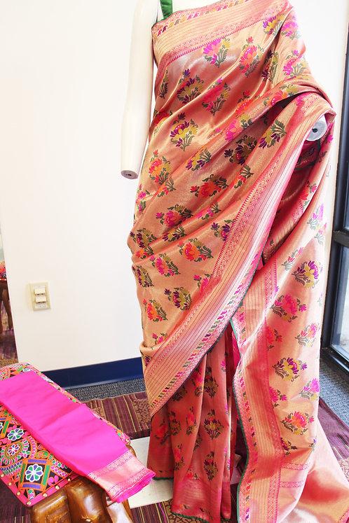 Banarasi Katan Silk Paithani Weaving Floral Saree