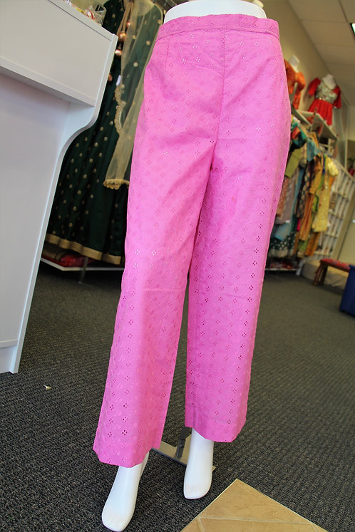 Pink Chikan / Embroidered PLazzo Pants