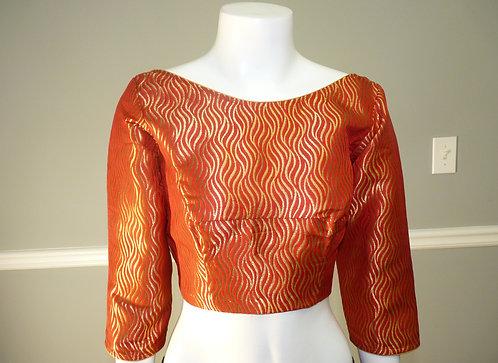 Maroonish Red with Golden Pattern Banarasi Silk Blouse