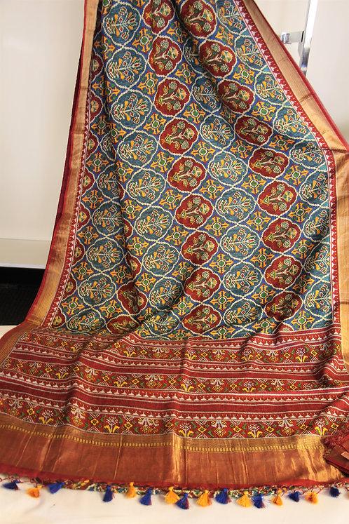 Pure Hand-loom Satin Silk Printed Patola Saree