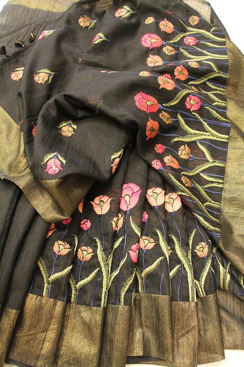 Black Embroidered Pure Linen Saree with antique zari banarasi border