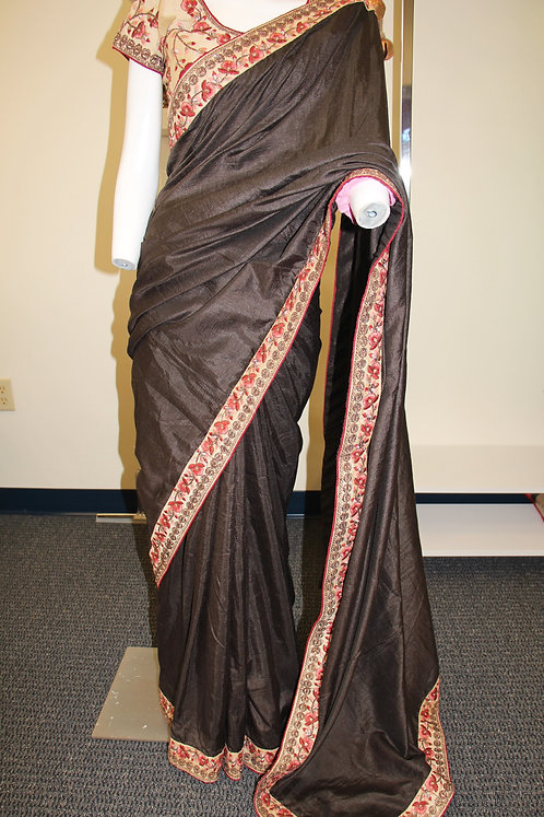 Dark Coffee color plain fancy saree with resham embroidery border.