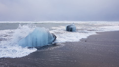 Icebergs in the waves