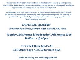 Mirfield Soccer School Announced