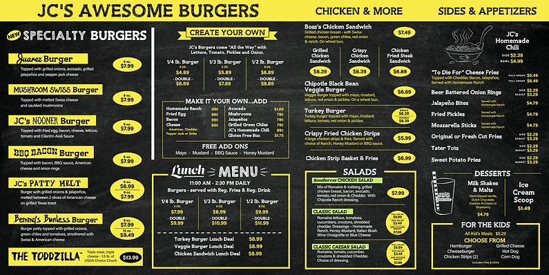 JC's Burger House - Prosper Menu