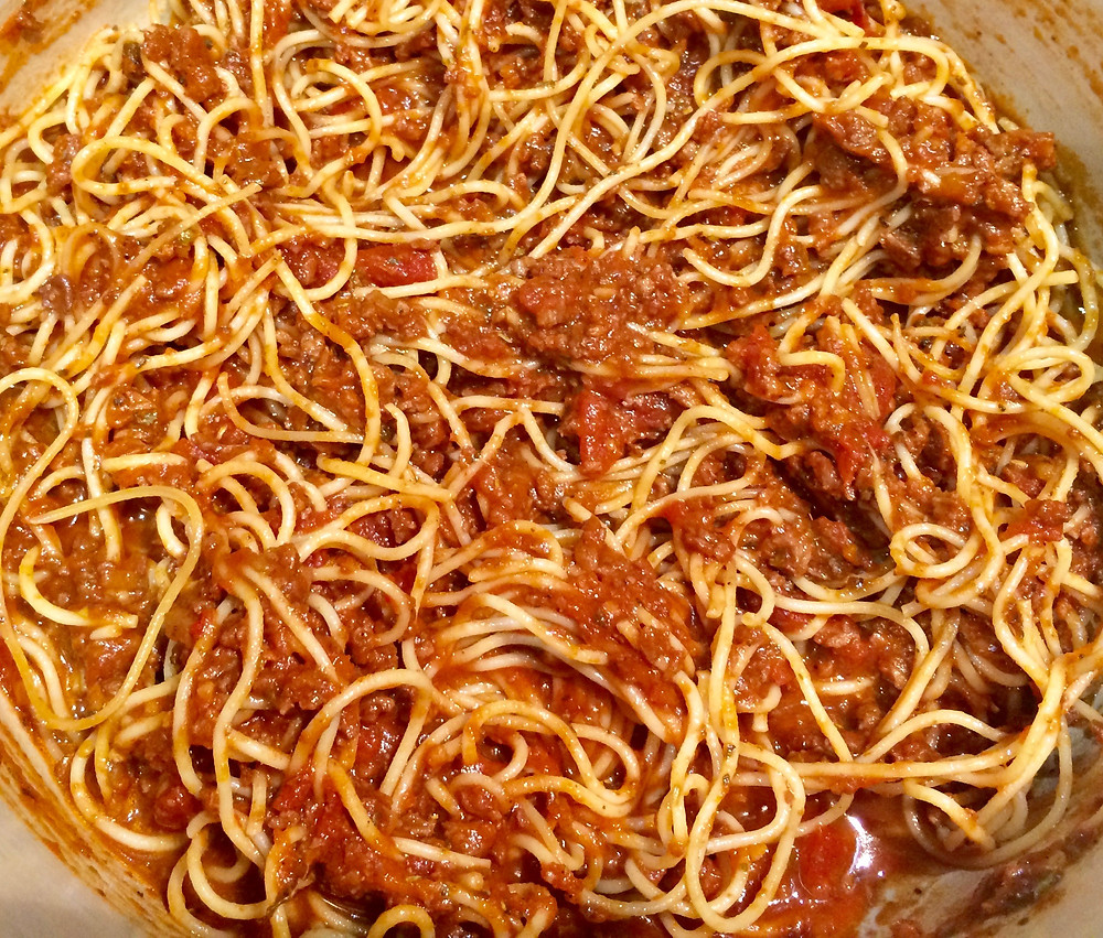 "Tracey Neale -  Vegan spahgetti with ""meat"" sauce ourveganadventure.com"