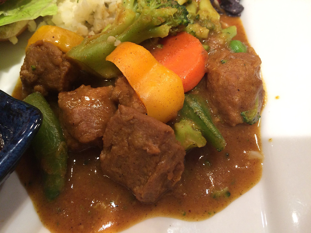 Tracey Neale - curried meatless beef tips, vegan curry, ourveganadventure.com