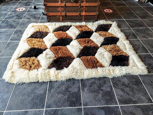 100% Alpaca Fur Rug-Vintage