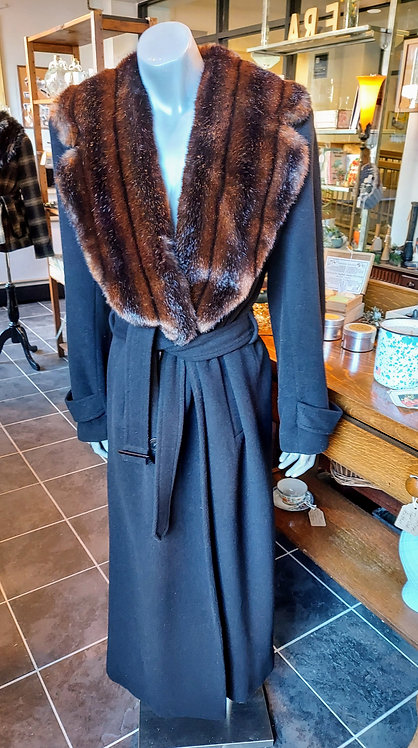 Vintage Ralph Lauren Wool & Angora Rabbit Fur collar longline coat