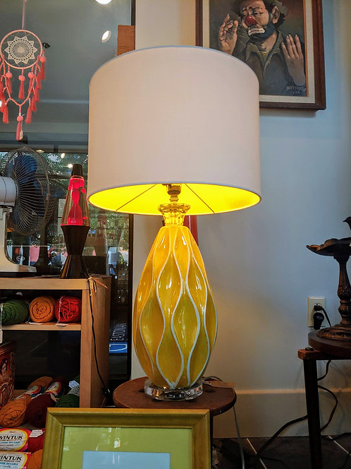 Retro Yellow ceramic & clear acrylic lamps