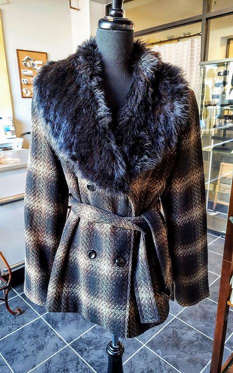 Vintage Wool faux fur collar coat-Med./Lrg. fit