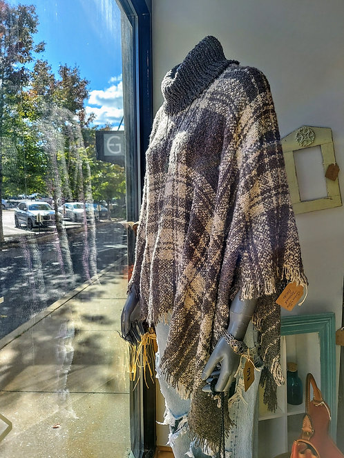 Grace & Lace Turtle Neck Poncho/Sweater