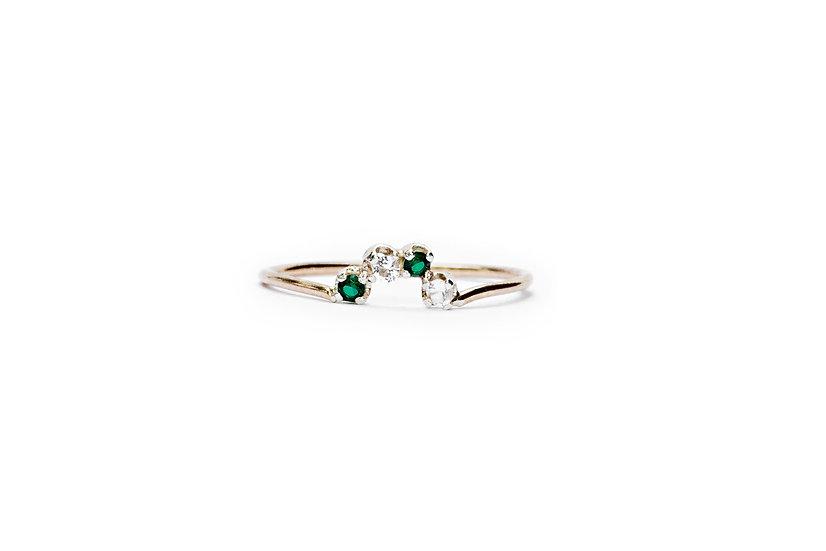 DIAMOND + EMERALD HALF CIRCLE RING