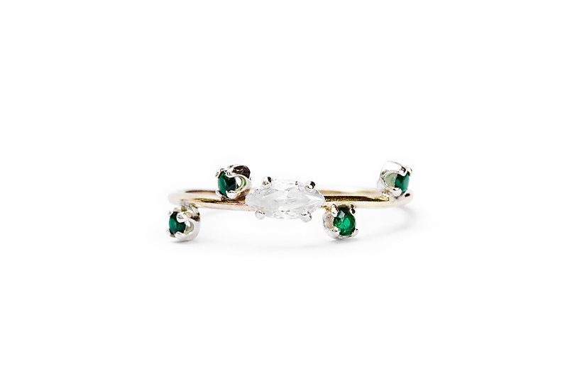 MARQUISE + SCATTERED EMERALDS RING