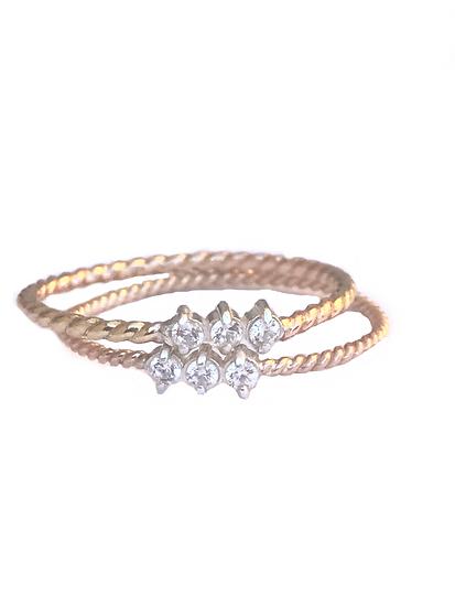 DIAMONDS +14K GOLD STACKING BANDS