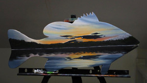 large mouth sunset painting
