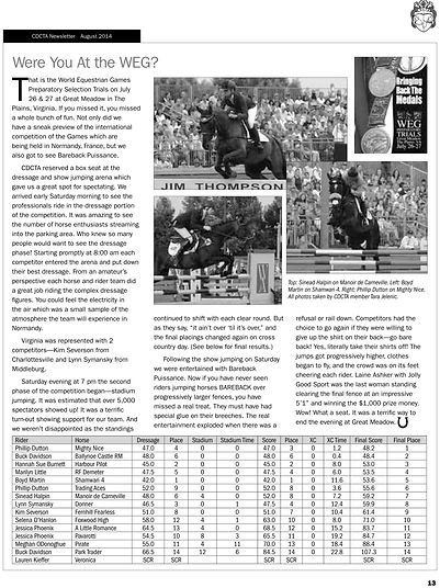 CDCTA August 2014 World Equestrian Games Article
