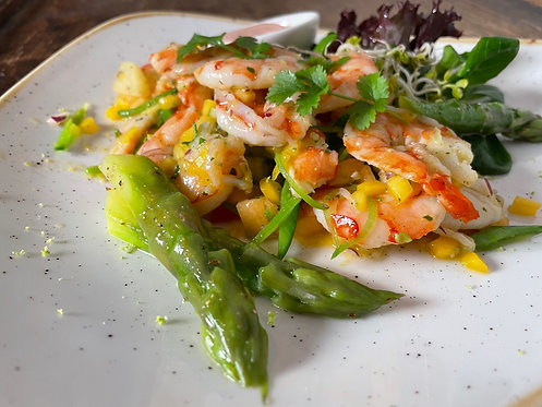 Salat mit Garnelen - Melone & Mango