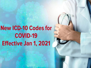 New ICD-10 Codes for COVID-19 Effective Jan 1, 2021