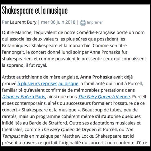 Critique du concert par Laurent Bury sur Forumopéra