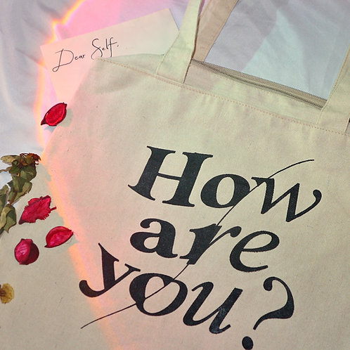 """""""HOW ARE YOU?"""" Eco-friendly Tote Bag (With Zipper and Spa"""